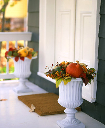 I love these white urns and how the colors play off of them. Also from Martha Stewart.