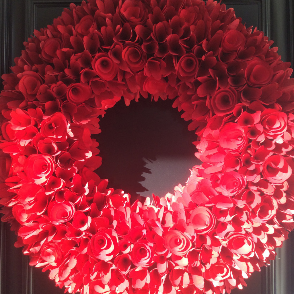 A close up of our red wreath. I  love the textures and how it catches the light.