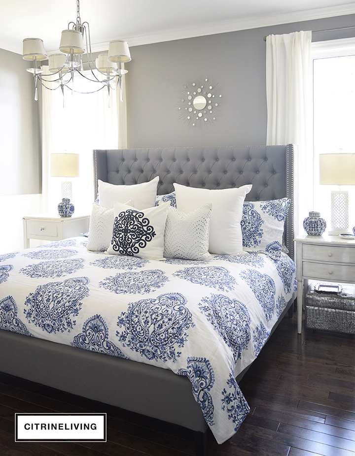 New master bedroom bedding citrineliving for Blue white and silver bedroom ideas