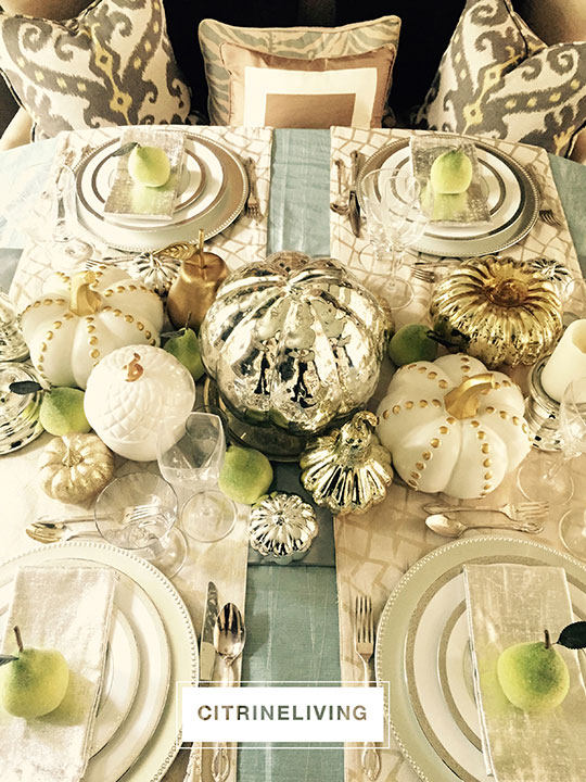 fall-tablescape-mercury-glass-pumpkins-green-pears2