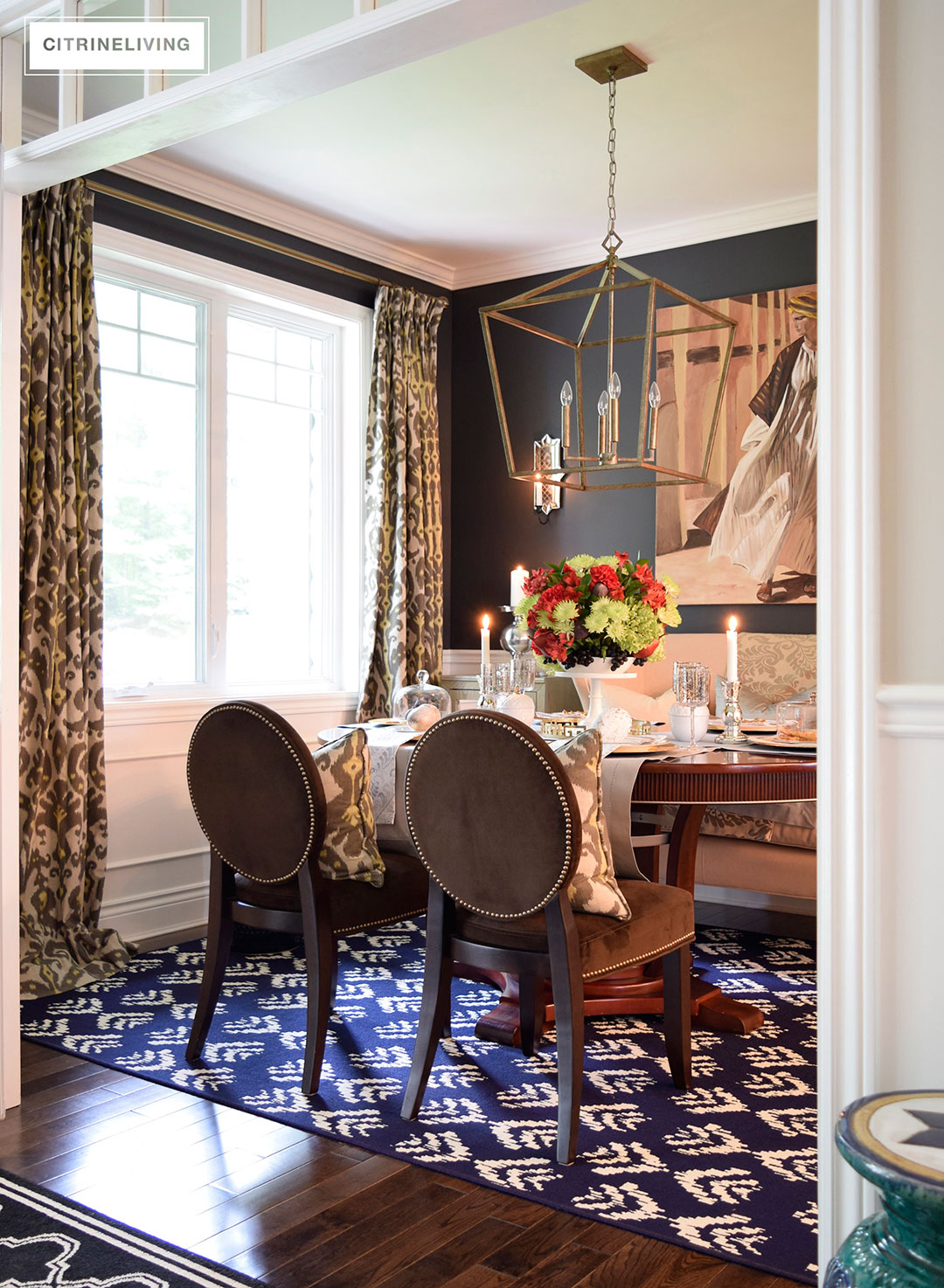 Fall dining room decor with rich layers of pattern an texture create a curated look
