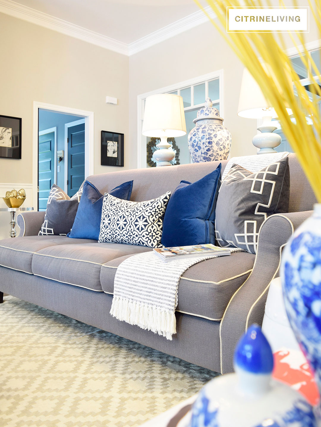 living-room-blue-velvet-pillows-grey-sofa