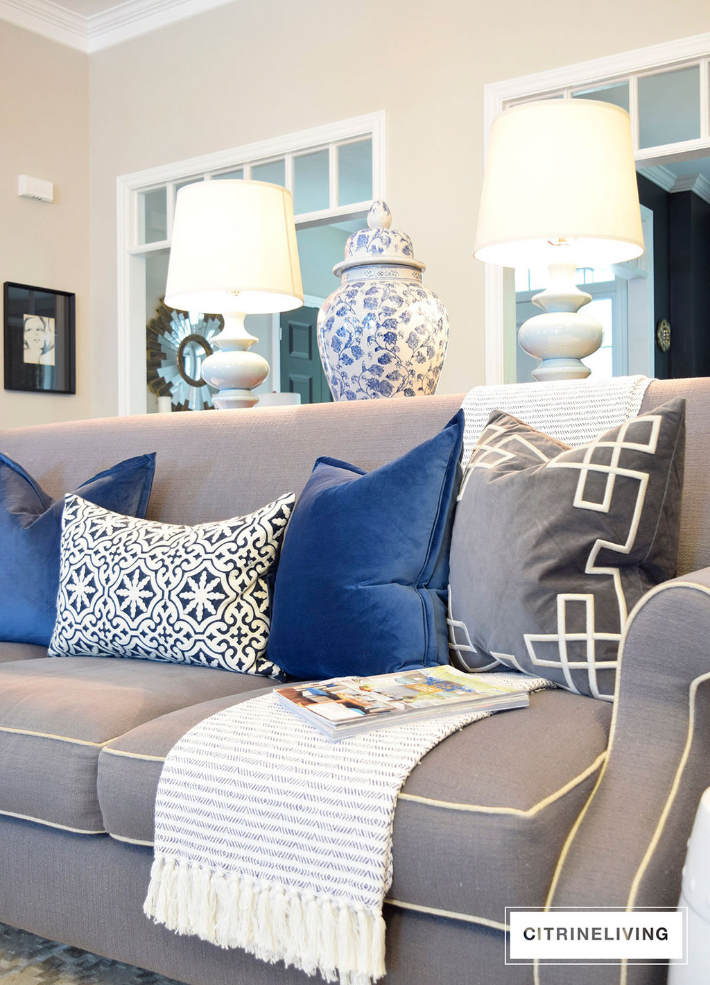 living-room-blue-velvet-pillows-grey-sofa2