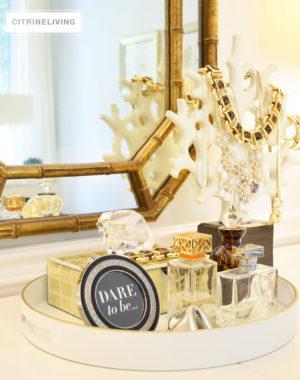 white-round-tray-gold-trim