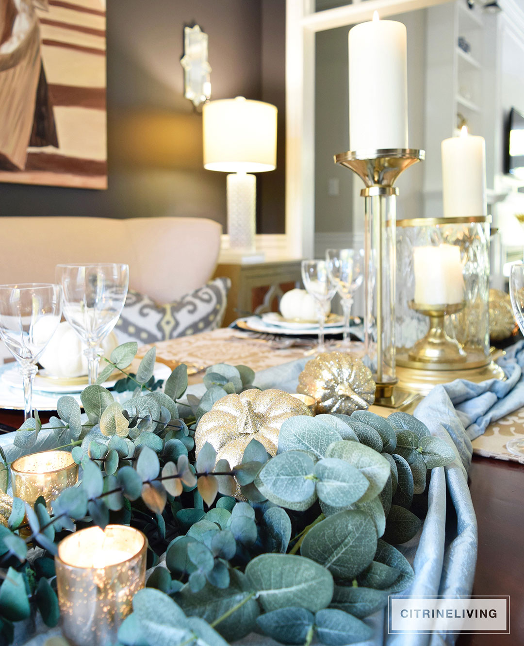GOLD AND AQUA THANKSGIVING TABLE