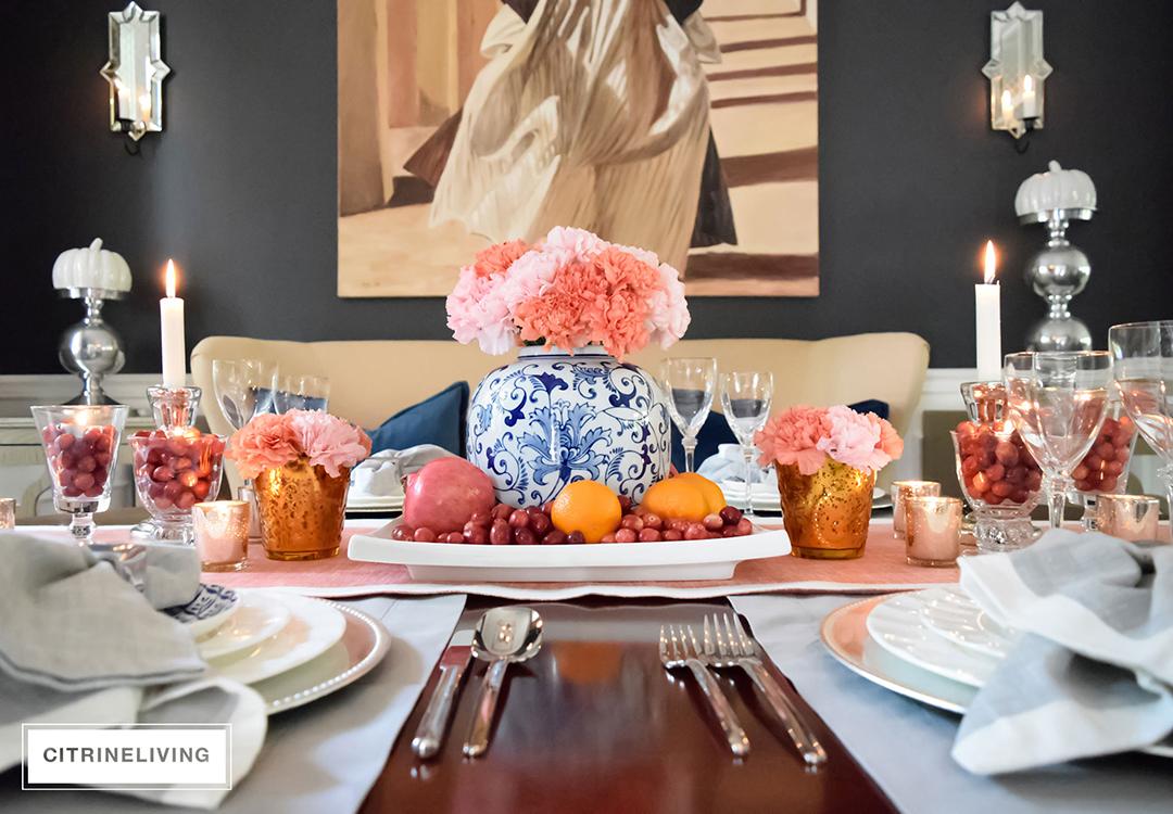 thanksgiving-table-ginger-jar-pink-flowers