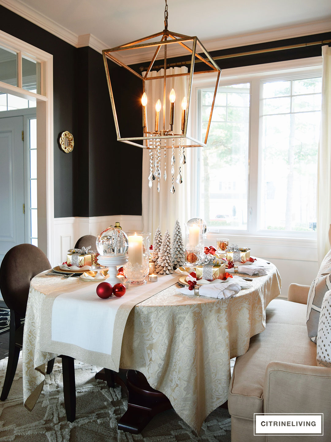 Red white and gold holiday tablescape with a twist - Black walls in dining room ...