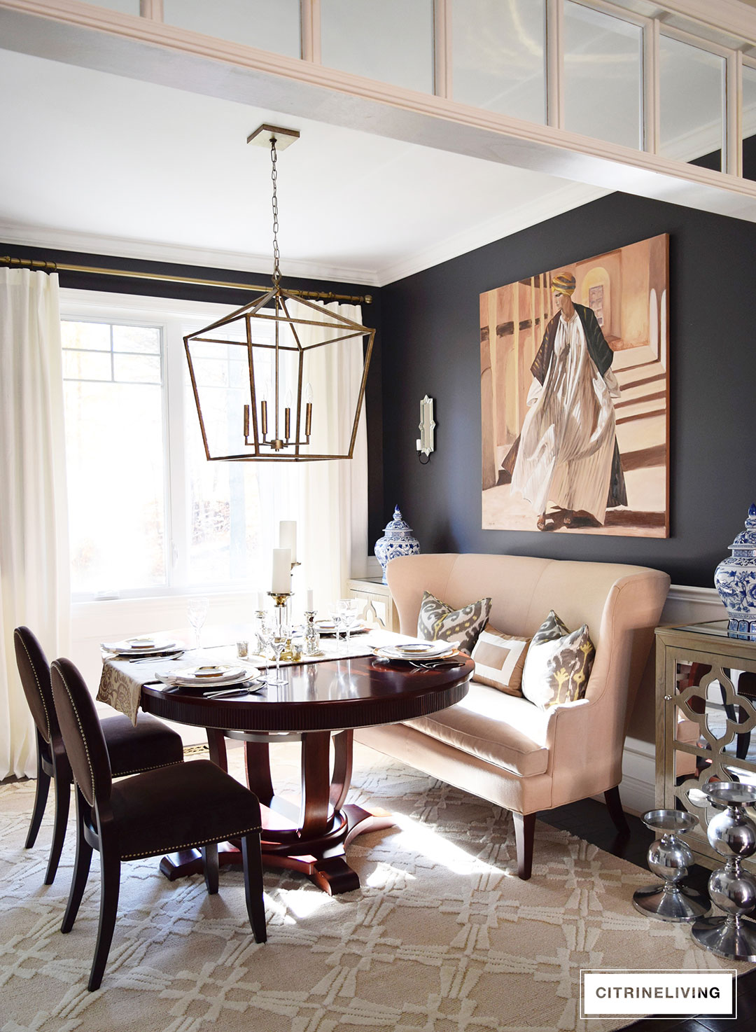 Citrineliving neutral dining room updates for Black dining room walls
