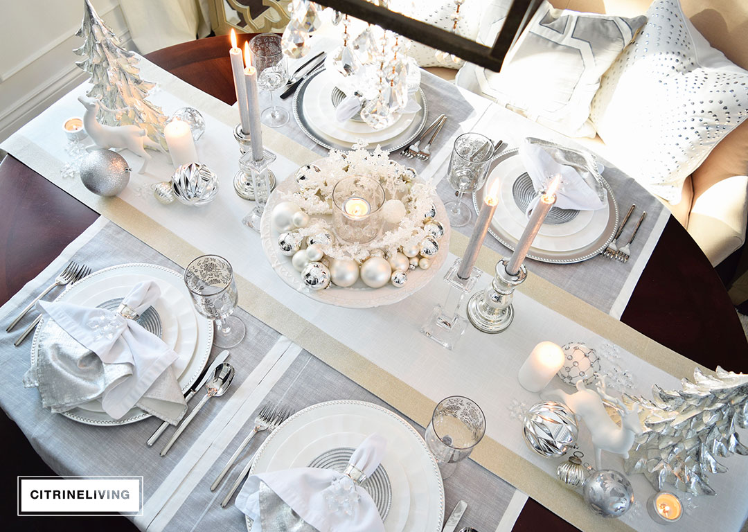 A Winter White And Silver Holiday Tablescape
