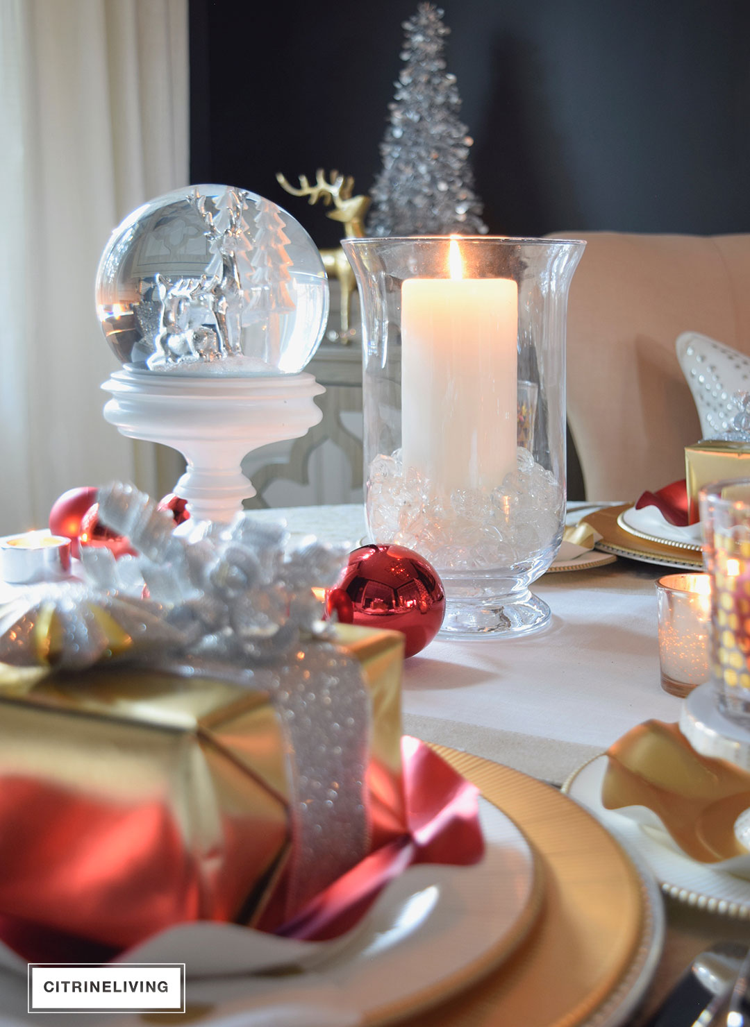 Red White And Gold Holiday Tablescape With A Twist