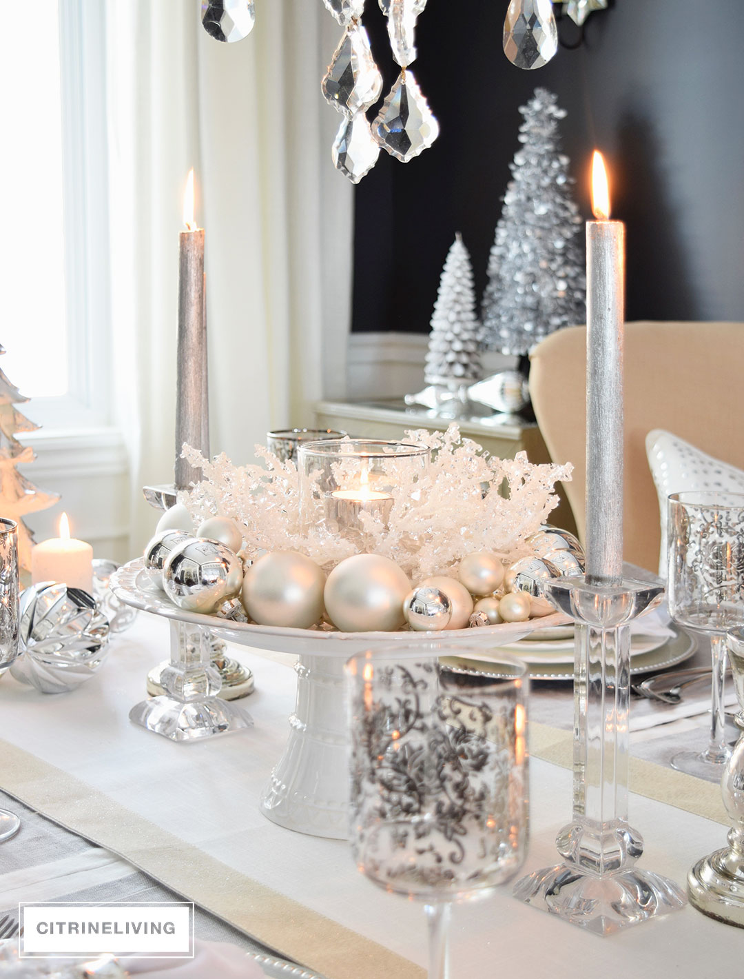 A winter white and silver holiday tablescape White christmas centerpieces