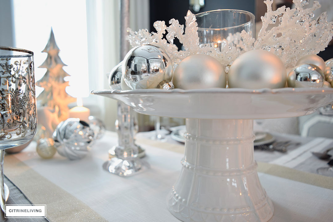 white-cakestand-silver-ornaments-christmas-tablescape