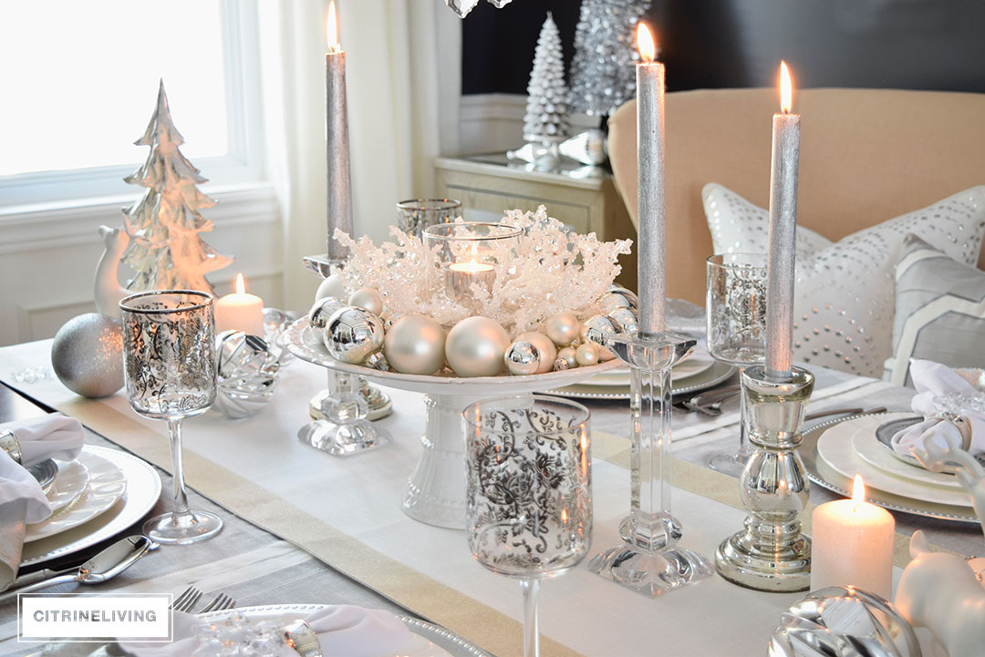 white-silver-tablescape-cakestand-holiday