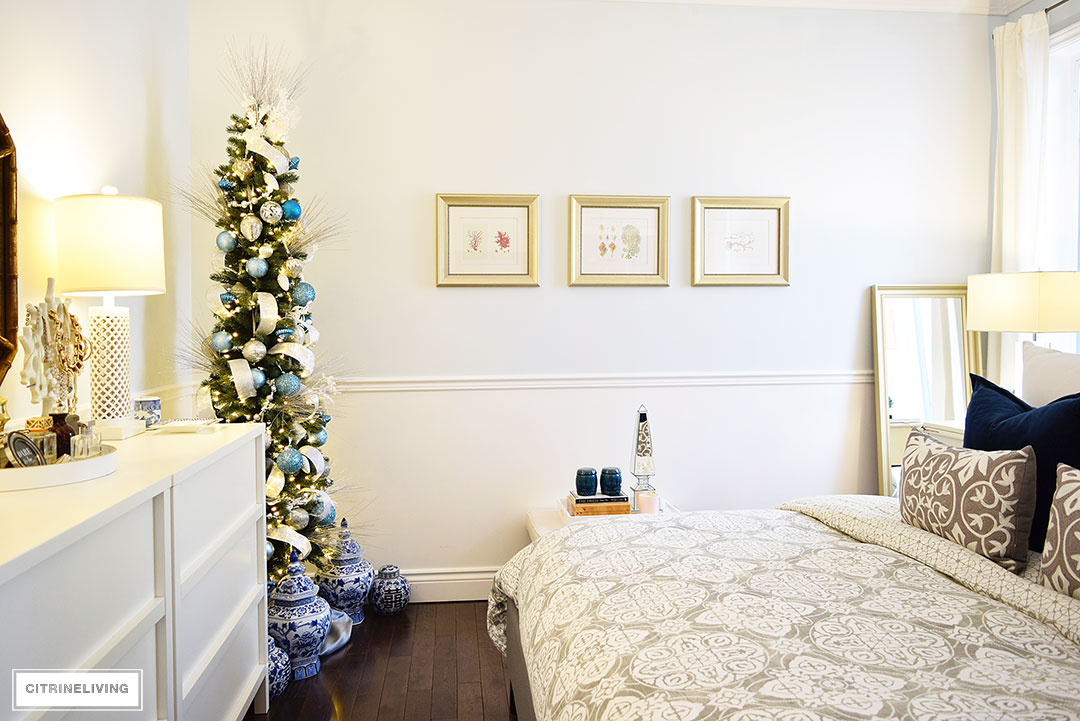 Christmas Home Tour - mixed metallics and icy blue create a chic Holiday theme