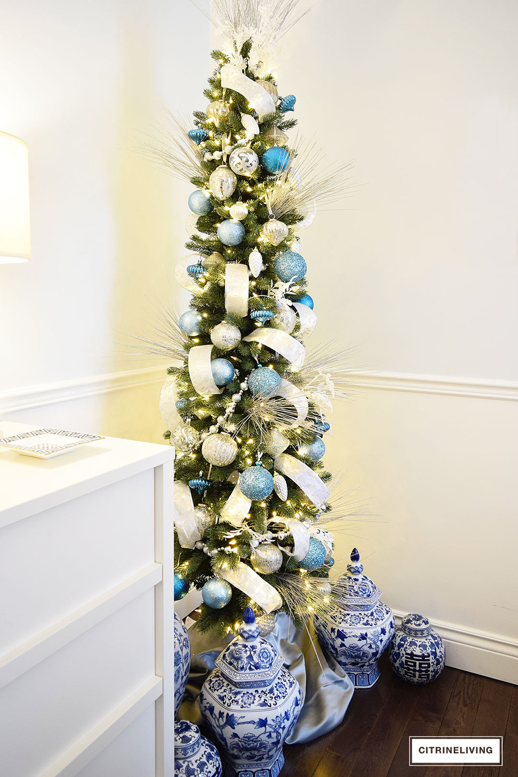 balsam hill pencil tree blue silver8 - Pencil Christmas Tree Decorating Ideas