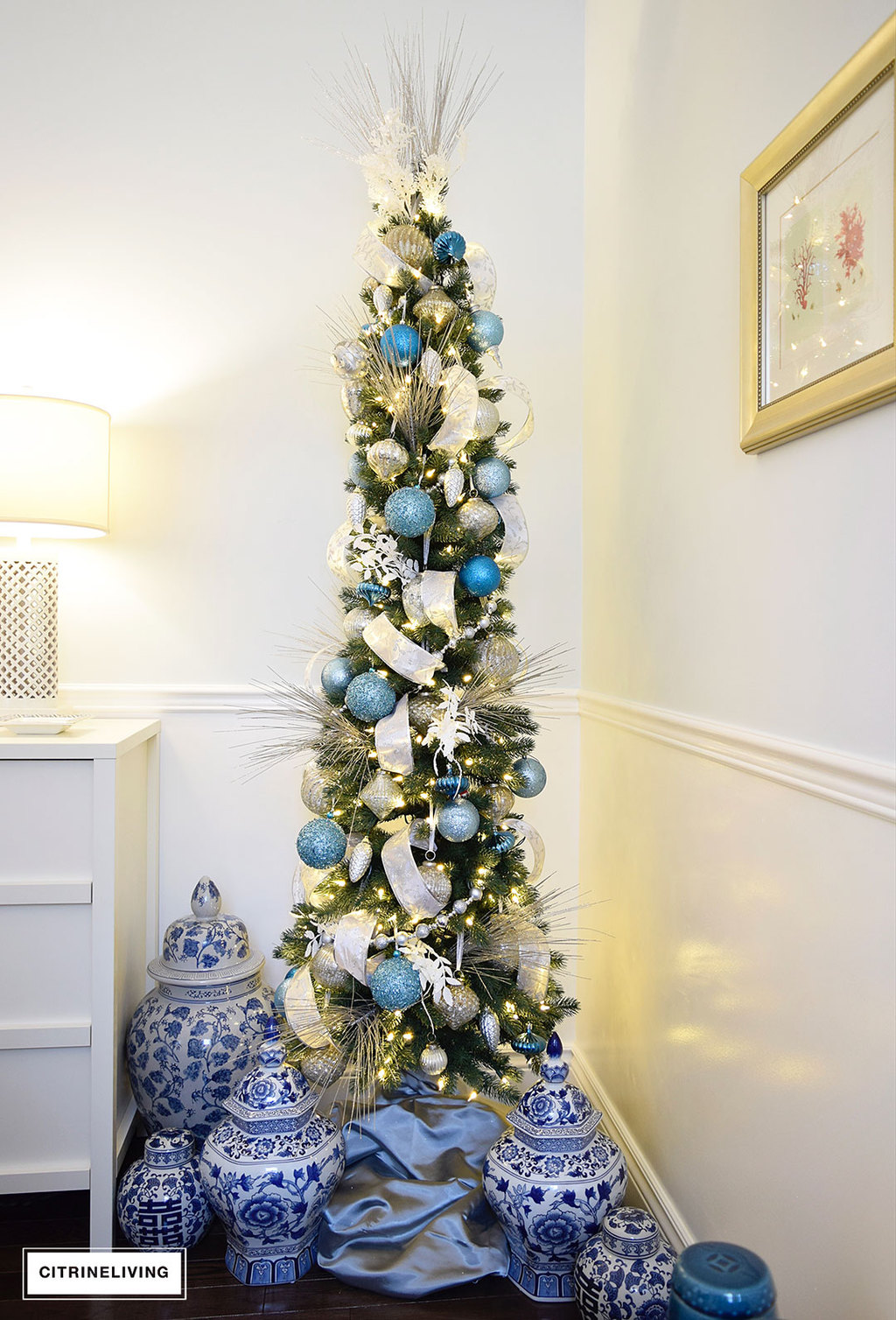 balsam hill pencil tree blue silver9 - Decorating A Pencil Christmas Tree