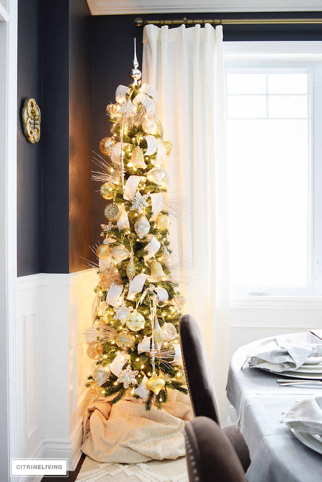 balsam hill pencil tree silver gold2 - Decorating A Pencil Christmas Tree