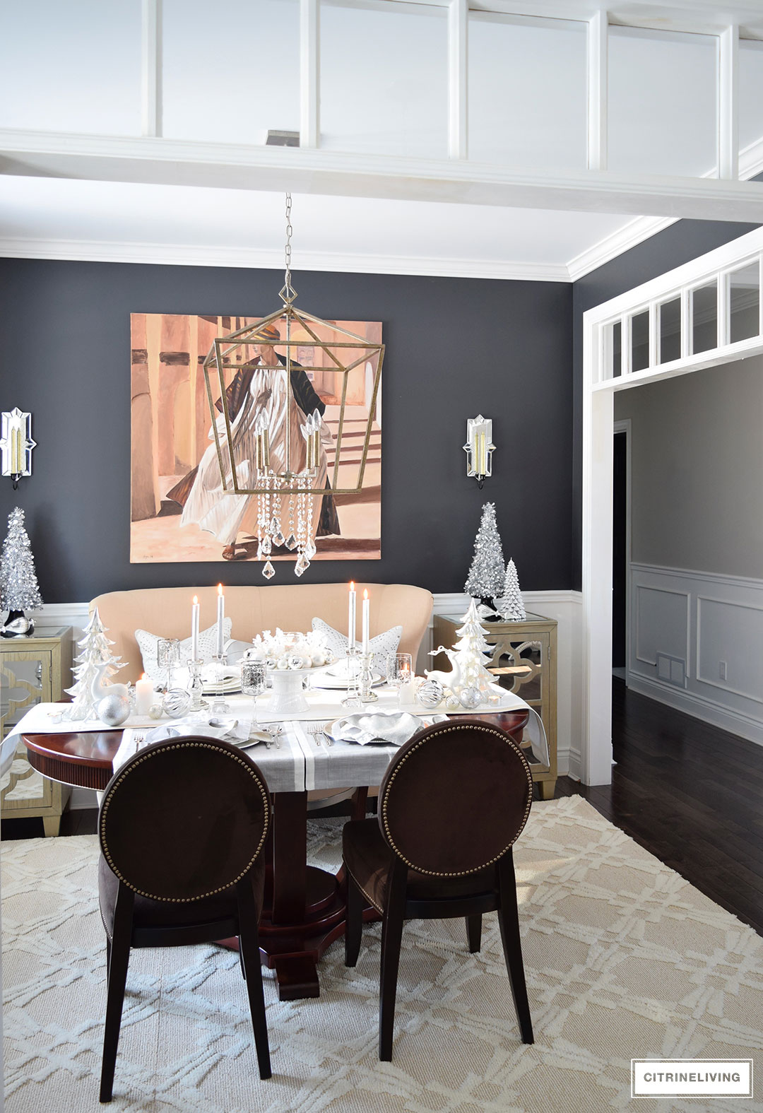 Christmas Home Tour - Create a stunning table with elegant silvers and layers of crisp white are chic and sophisticated