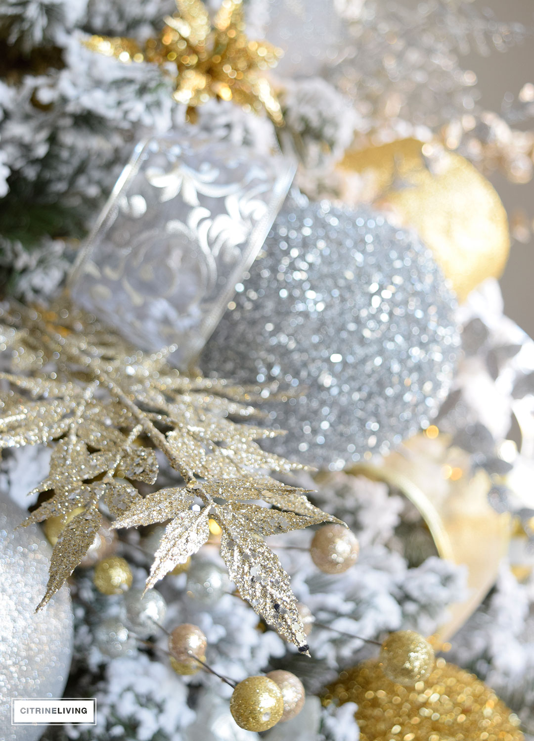 christmas-flocked-tree-ornaments-silver-gold