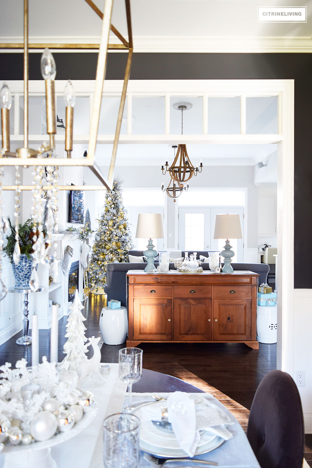 Christmas Home Tour - Gorgeous metallics and icy blue create the perfect chic Holiday theme