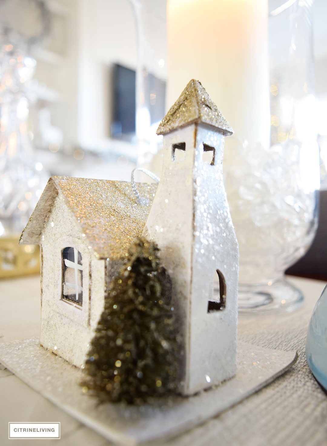 Christmas Home Tour - metallics and icy blue create a chic Holiday theme