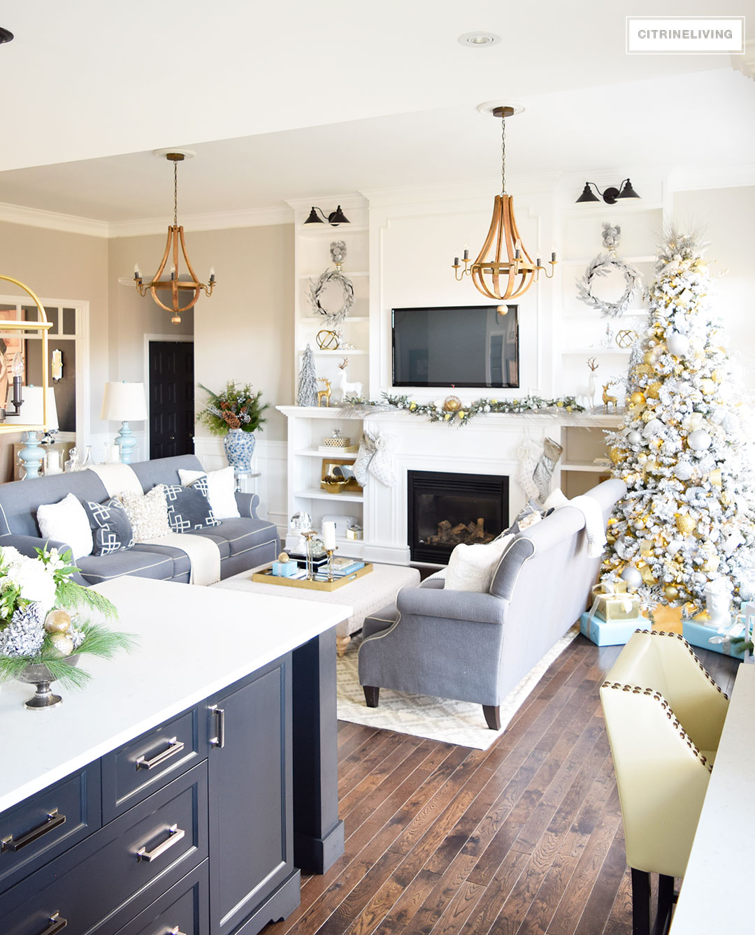 Christmas Home Tour -Beautiful living room with mixed metallics and icy blues create a chic Holiday theme