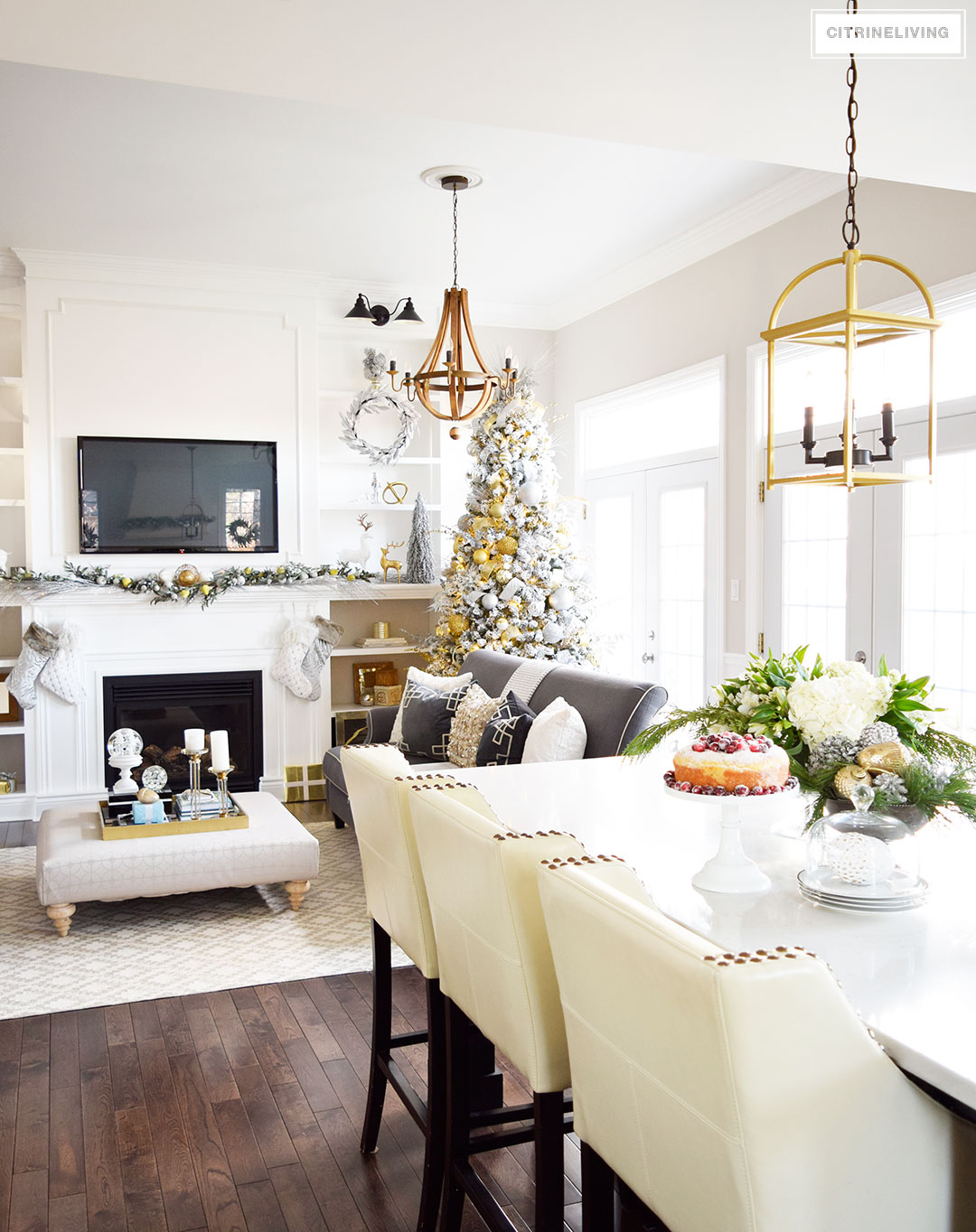 Christmas Home Tour - mixed metallics and icy blues create a chic Holiday theme