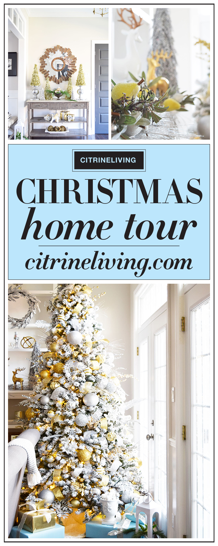 Christmas Home Tour - Gorgeous metallics and icy blue create a perfectly chic Holiday theme!