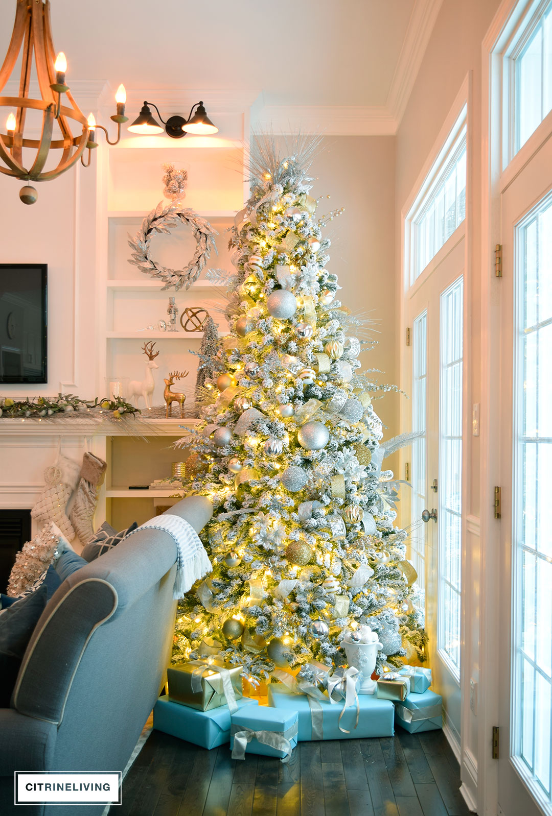 flocked-christmas-tree-nighttime-living-room