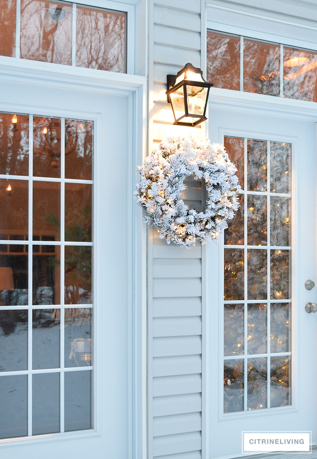 outdoor-lighting-flocked-wreath-french-doors