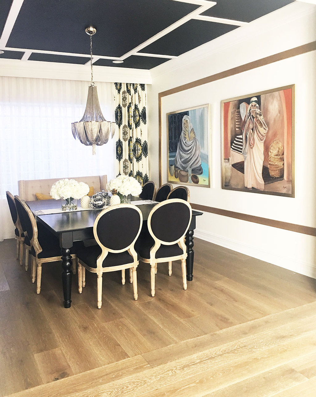 A florida home where comfort meets glam for Black dining room chandelier