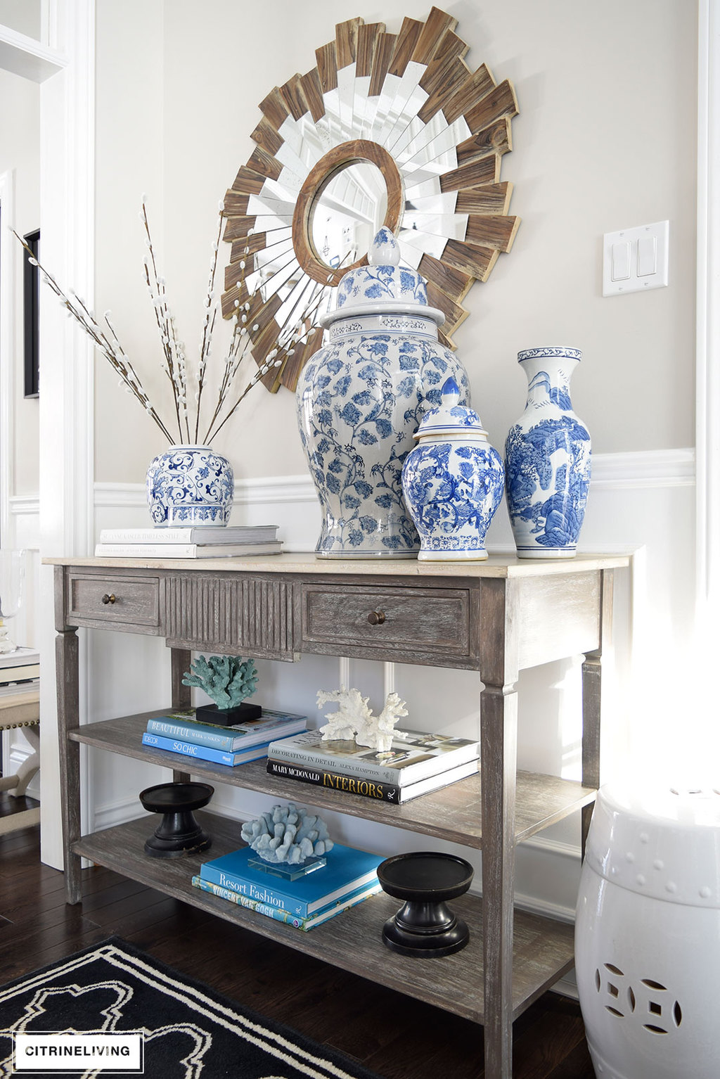 I Chose To Use The Same Idea With This Setup, Making A Statement With  Mostly Monochromatic Items. I Did Use Blue And White Last Spring In Our  Entrance As ...