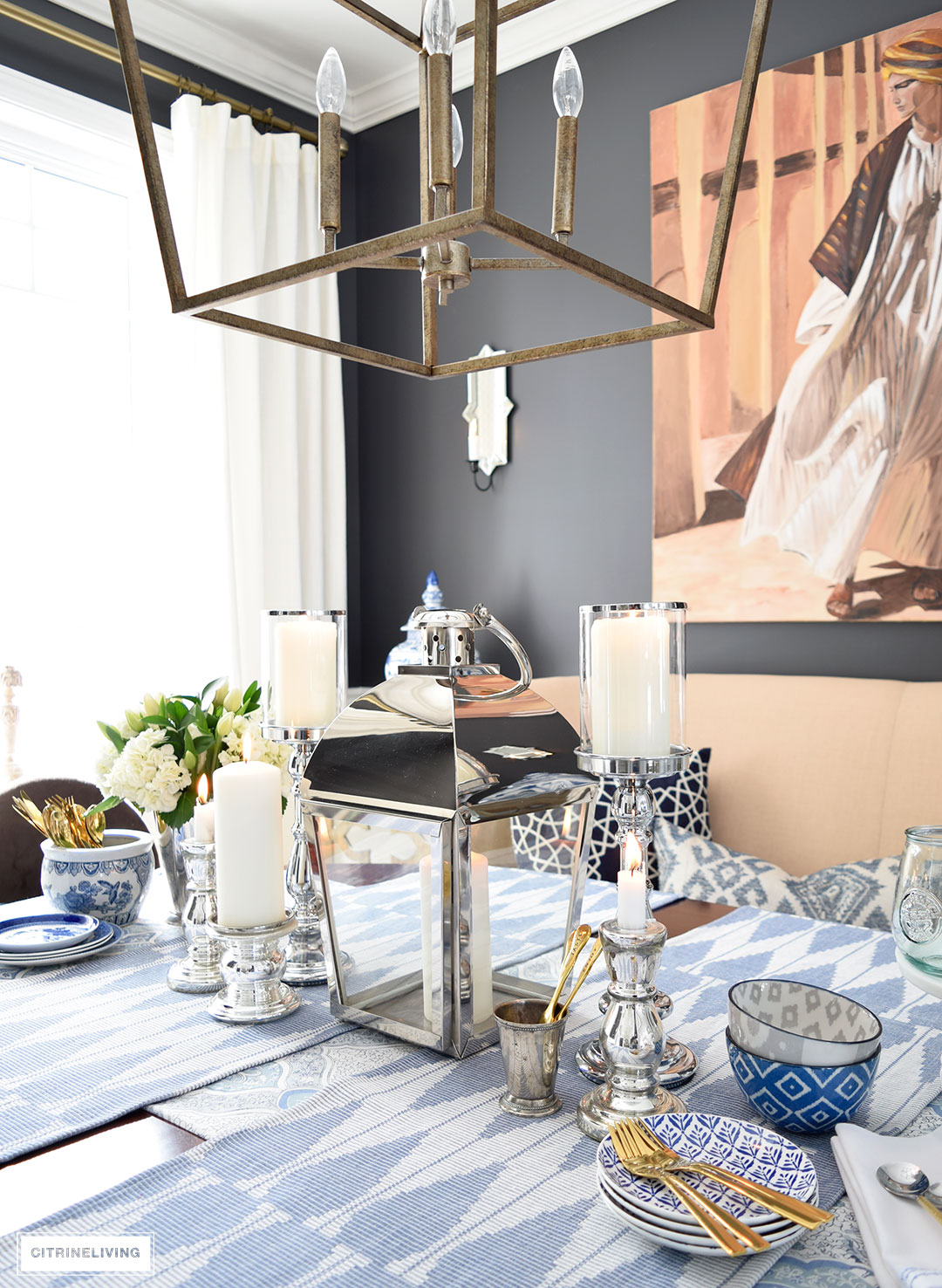 Spring table - a fresh mix of blue and white pattern and texture is perfect for the season.
