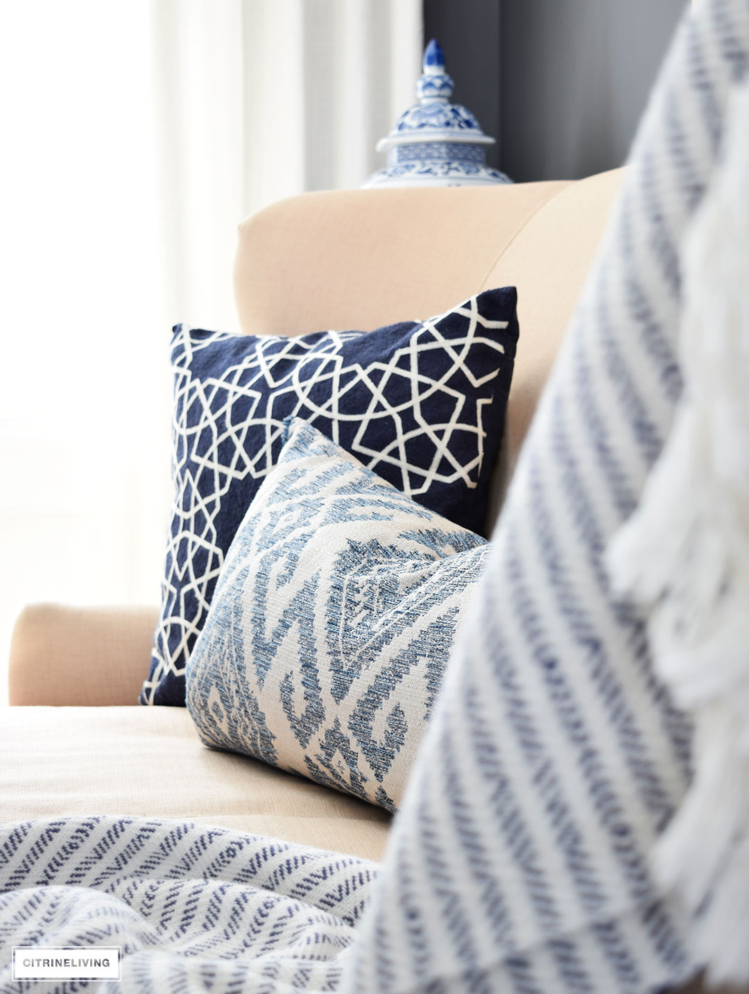 Spring decor - layers of blue and white pattern and texture is perfect for the season.