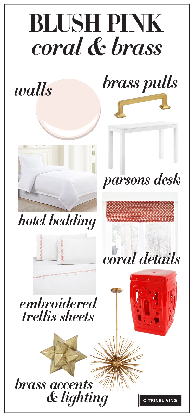 Blush pink, coral and white color palette with brass accents is perfect for a girl's bedroom!