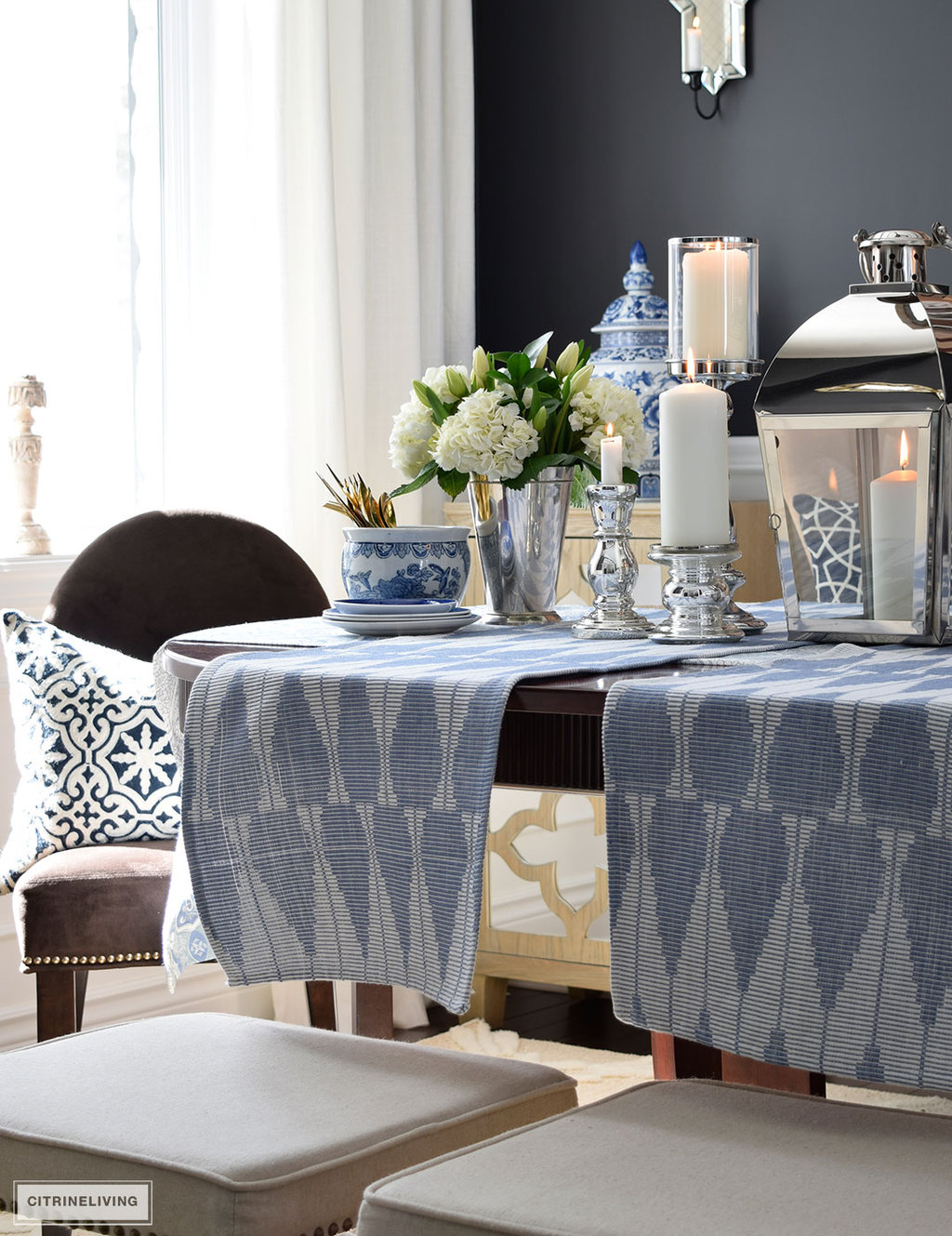 Beautiful Spring table decor - a fresh mix of blue and white pattern and texture is perfect for the season.
