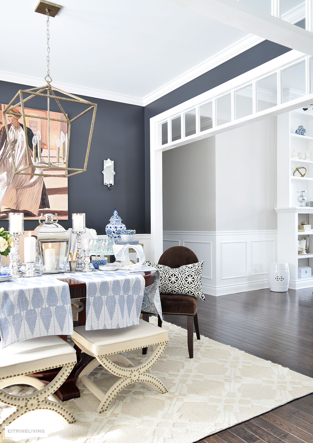 Bring a fresh Spring vibe to your decor with a mix of blue and white pattern and texture.