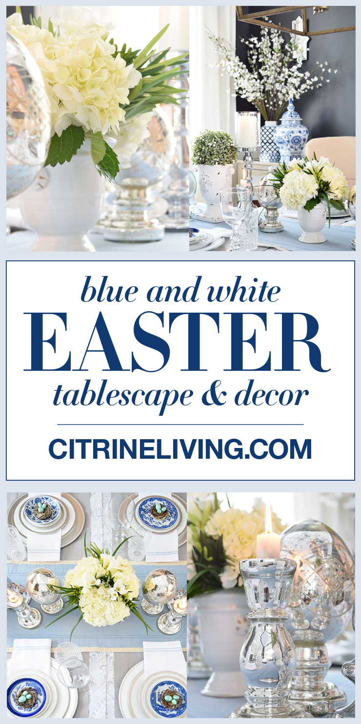 Wow your guests with a beautiful blue and white palette, combined with layers of white mercury glass, fresh flowers and topiaries - perfect for Spring and Easter tablescapes and decor!