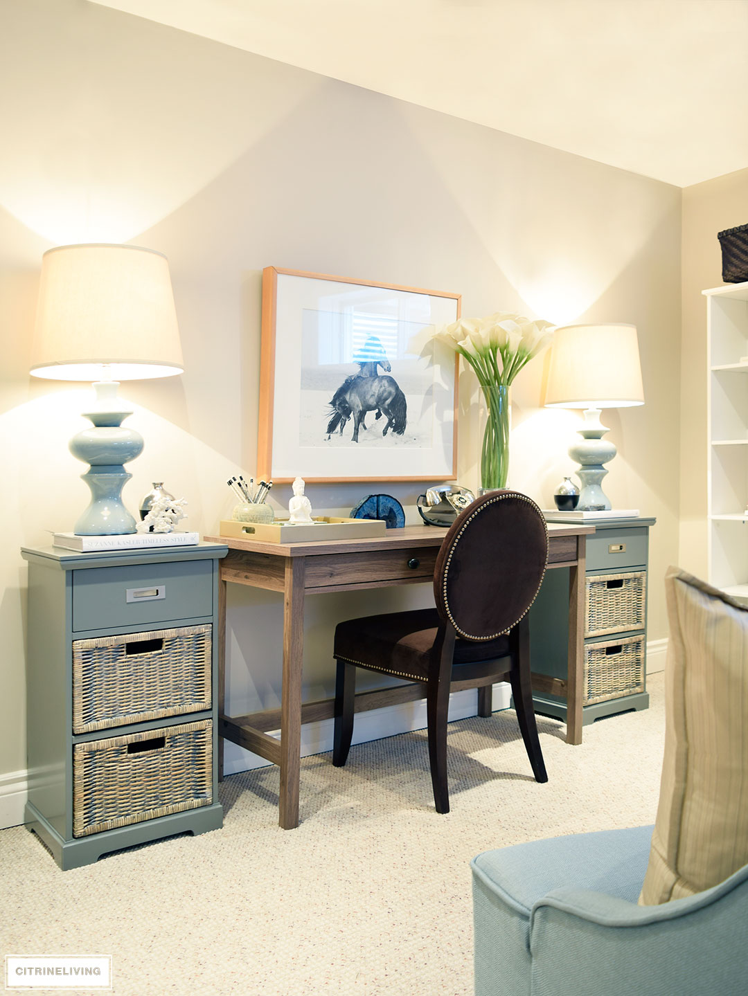 don39t love homeoffice. I Really Love This Nook And How It Is Starting To Bring Our Basement Life. Simple Touches Like The Coral, Blue Agate Bookends Faux Lilies Add Texture Don39t Homeoffice