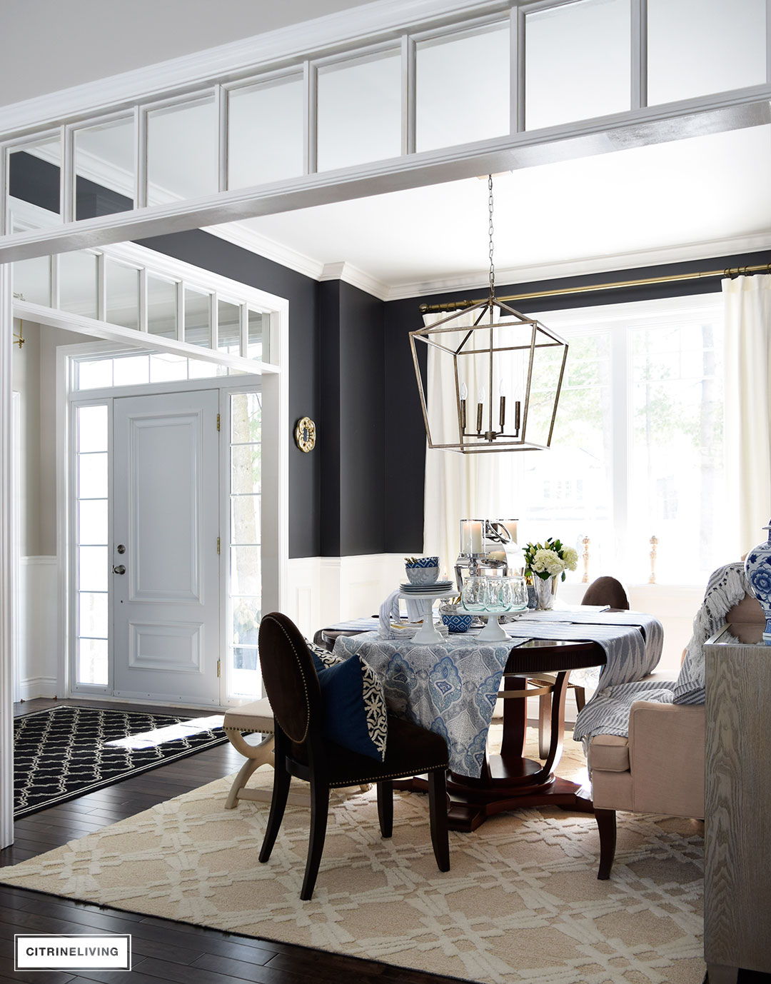 Spring decor - a fresh mix of blue and white pattern and texture is perfect for the season.