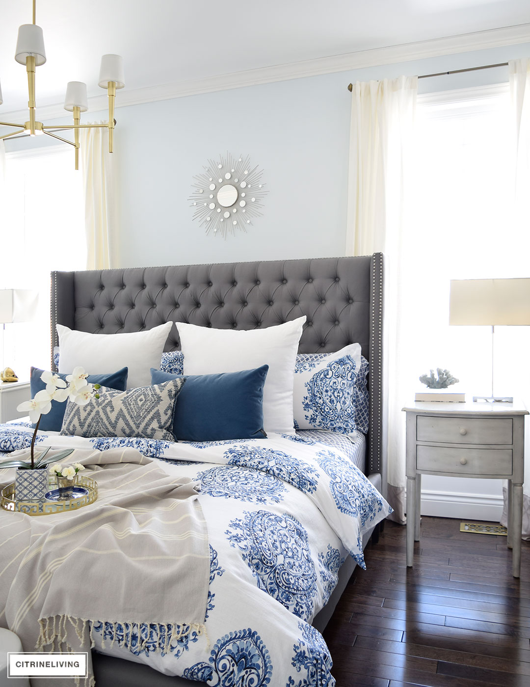 Citrineliving spring in full swing home tour 2017 for Blue white and silver bedroom ideas