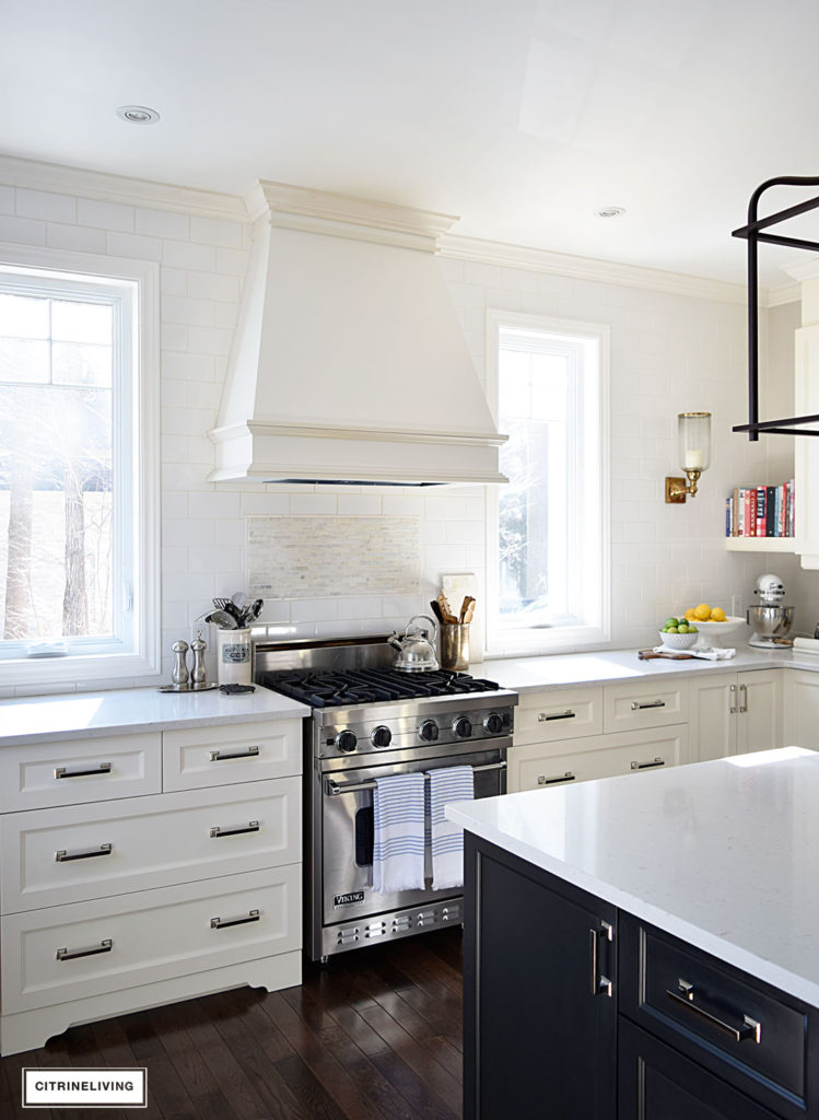 Bright and airy kitchen featuring fresh spring decor for the season.