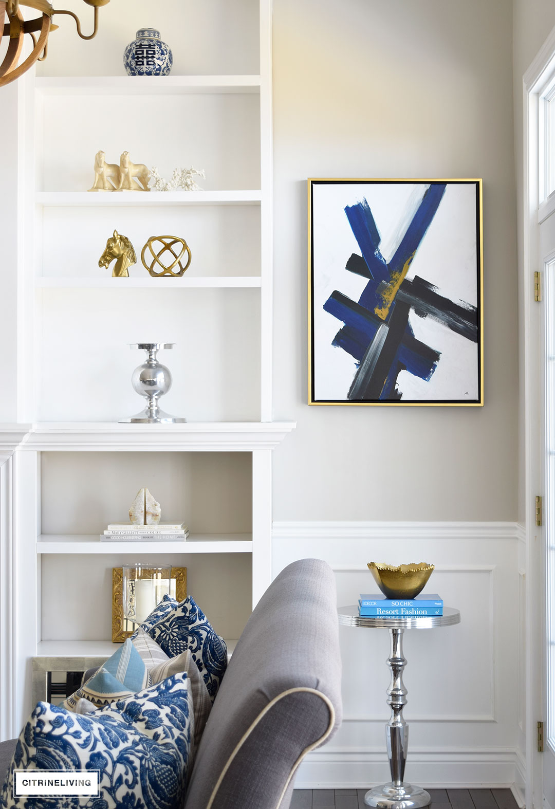 Make a strong statement in your home with bold, graphic modern art for a fresh, crisp approach.