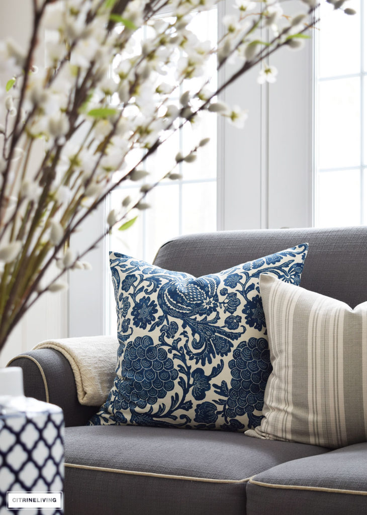 Gorgeous Java Batik Pillow in Indigo from Tonic Living. Bring freshness to your home this Spring with layers of beautiful blues, fresh and faux florals, and new modern art and textiles.