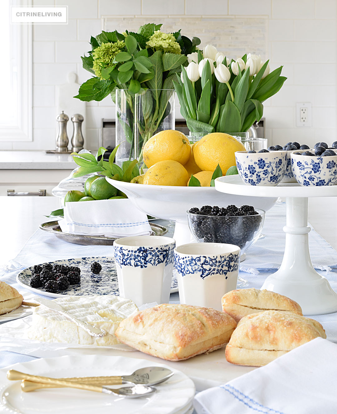Dozens of ideas for using blue and white decor.