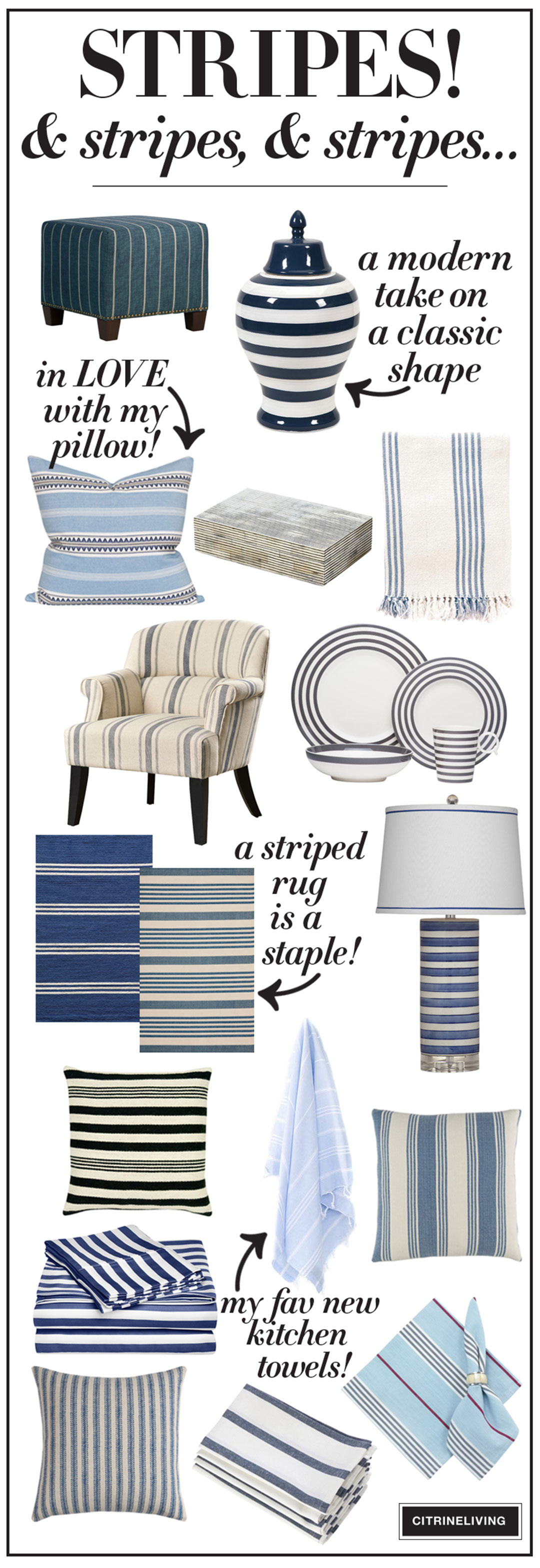 A roundup of all things striped for your home! Incorporate this classic anywhere!