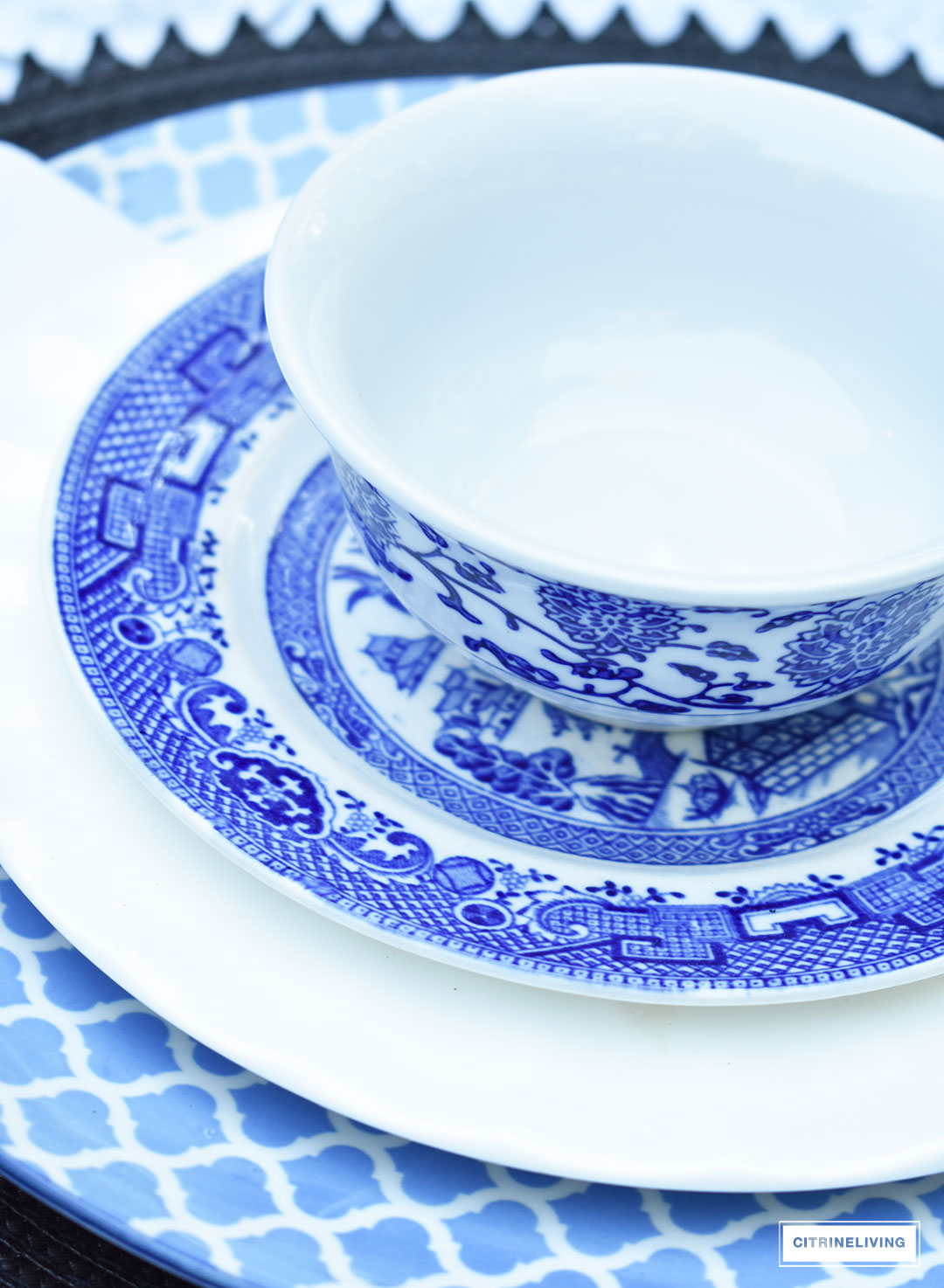 A mix of blue and white pattern on your table creates a refreshing and elegant setting for guests for Summer entertaining or any season.
