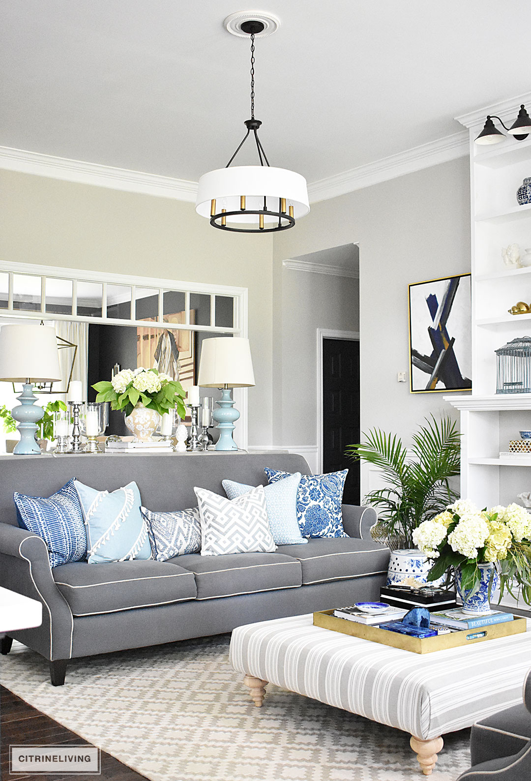 Summer home tour with beautiful blues and fresh greenery - Living room decor images ...