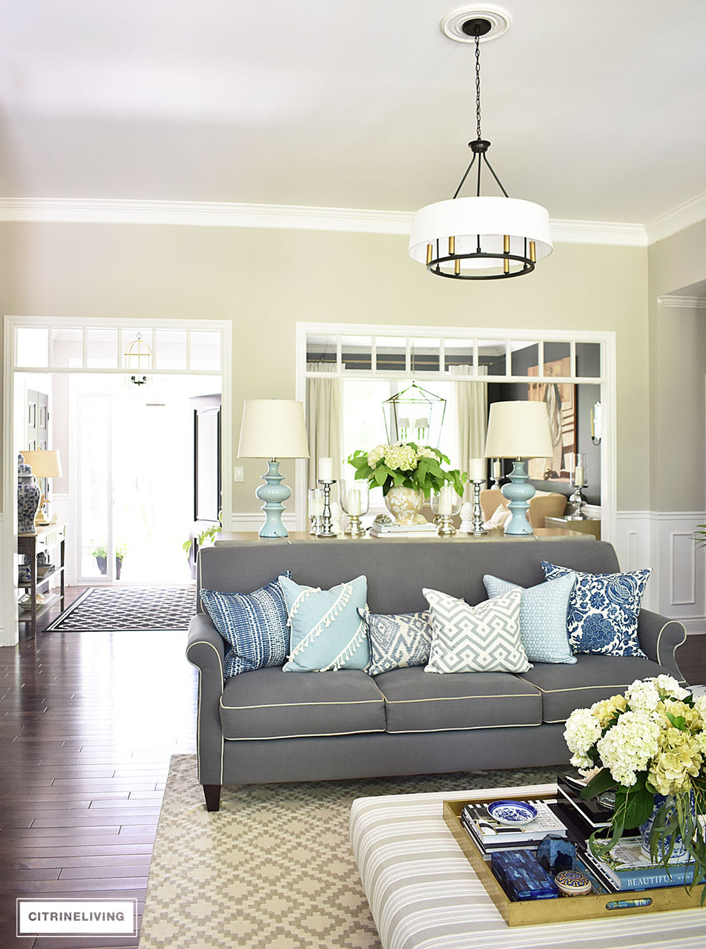 Summer home tour with beautiful blues and fresh greenery for Open concept living