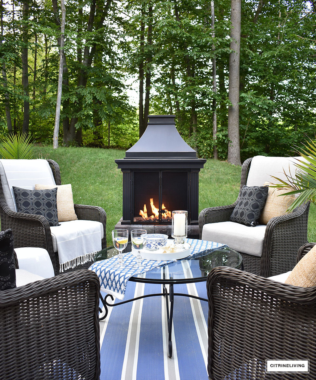 Create A Warm And Inviting Conversation Area On Your Patio This Summer With  A Gorgeous Fireplace
